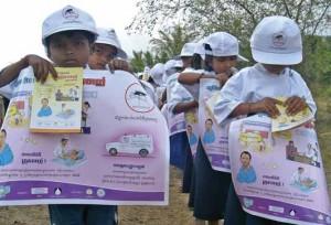 schoolchildren paricipate in the malaria awareness-raising campaign